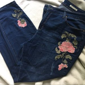 Denim - Plus Size Embroidered Denim Jeans
